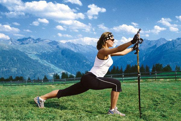скандинавская ходьба упражнения с палкой