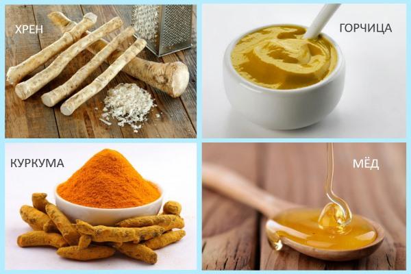 Народные средства от артрита: хрен, куркума, горчица, мёд